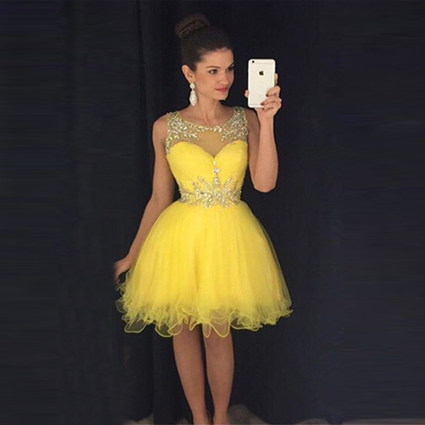 O-neck Cheap Yellow Short Homecoming Dresses Crystal Beads Puffy ...