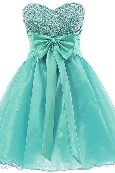 Sweetheart Neckline Turquoise Homecoming Dresses Short A-line Sequins Beaded Organza 8th Grade Prom Dresses CS005