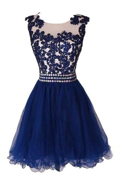 Navy Blue Homecoming Dresses Short Scoop Neck Embroidery Crystals Beaded Waist Puffy Graduation Dress CS037