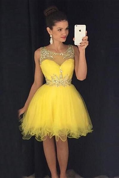 O-neck Cheap Yellow Short Homecoming Dresses Crystal Beads Puffy Short Cocktail Prom Dresses CS045