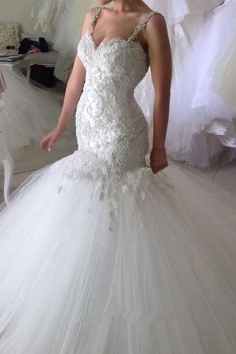 Beaded Spaghetti Straps Mermaid Wedding Dresses Backless Lace Applique Vestido De Noiva Vintage Bridal Dresses 2016 CS212
