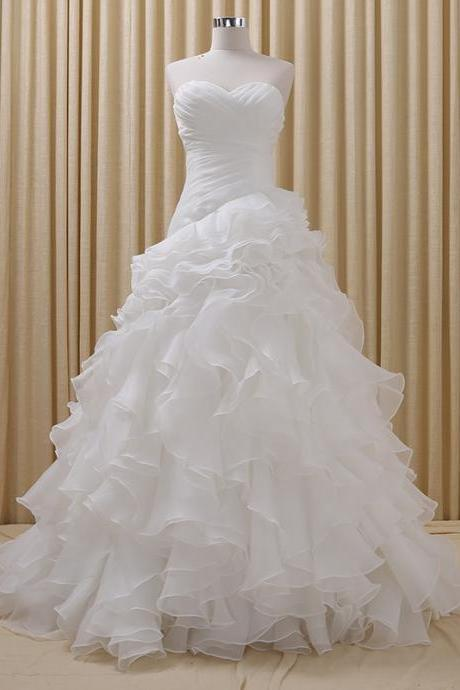 Organza Wedding Dress with Ruffled Skirt vestido de noiva foto real Champagne Colored robe de mariage CS563