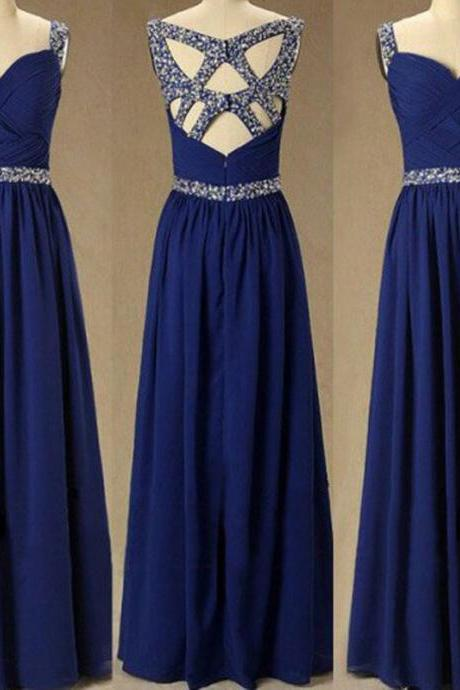 Real Photo Navy Blue Chiffon Prom Dresses with Rhinestones vestidos de formatura Long Imported Party Dress CS605