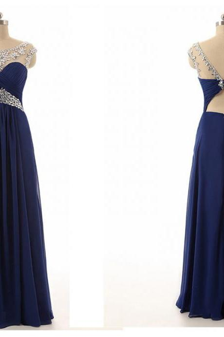 Real Photo Navy Blue Long Prom Dresses Rhinestones Beaded See Through Elegant Women Dress for Wedding Party vestidos de festa vestido longo para casamento CS628