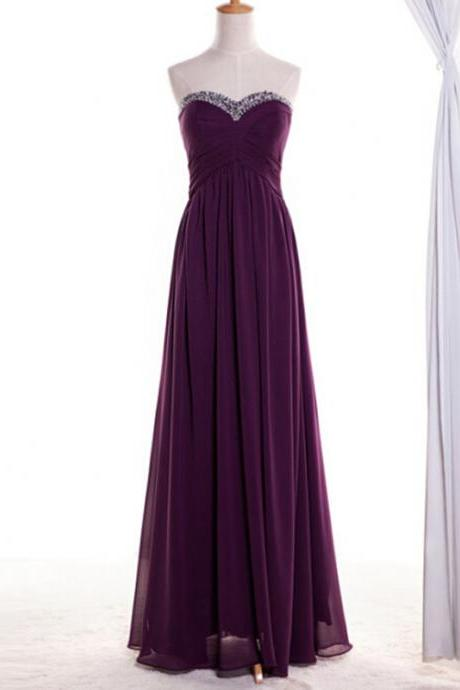 Purple Chiffon Prom Dress Real Photo Beaded Neckline vestido de festa longo Long Beautiful Elegant Women Dress for Wedding Party CS639